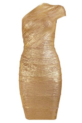Gold Metallic Colours One-Shoulder Bandage Dress (Express)