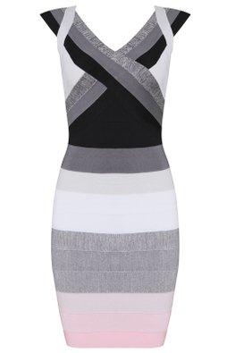 Gradient Black with Pink Dash V-Neck Bandage Dress (Express)