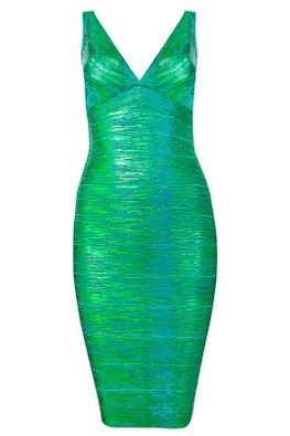Assorted Shimmer Colours V-Neck Bandage Dress