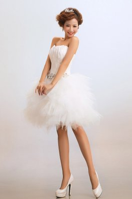 White Sweetheart Feathered Bodice Tiered Skirt Tulle Gown
