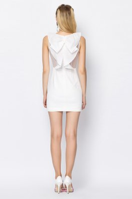 White Jewel Neckline Pleated Bow Dress (Express)