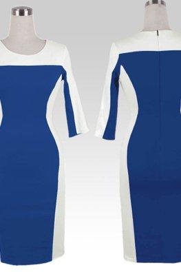 Black / Blue Duo Tone Curves Pencil Dress