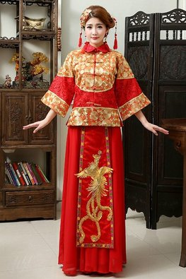 Red Gold Threaded 3/4 Bell Sleeves Dragon Pheonix Traditional Kua