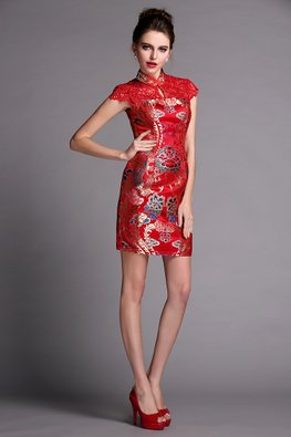 Red Lace with Lotus Print Modern Cheongsam