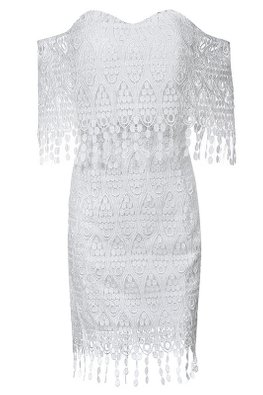White Sweetheart Off-Shoulder Tassels Lace Dress (Express)