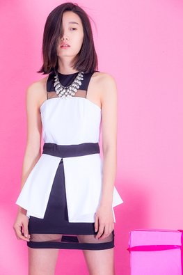 Black and White Jewel Neckline Stylish Dress