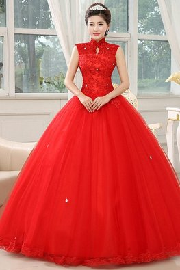 White / Red Twinkle Mandarin Keyhole Collar Wedding Ball Gown
