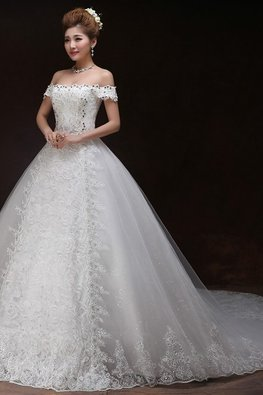 Off-Shoulder Diamante Lace A-Line Wedding Gown with Chapel Train
