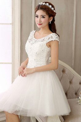 White Wide Shoulder Rosette Lace Mini Gown (Express)
