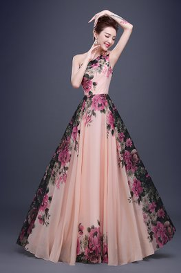 Peach One-Shoulder Floral Enchanted Gardens Gown