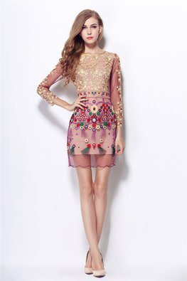 Purple Gold Embroidery Jewel Neckline 3/4 Sheer Sleeves Ethnic Dress (Express)