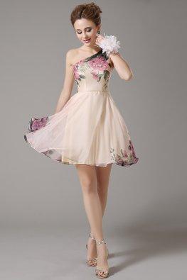 Peach One-Shoulder Enchanted Gardens Mini Gown