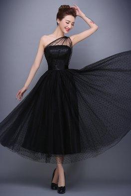 Black One-Shoulder Polka Dots A-Line Gown (Express)