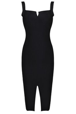 Black Square Neckline Frontal Slit Bandage Dress (Express)