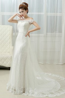 Off-Shoulder 2-Layer Court Train Wedding Trumpet Lace Gown
