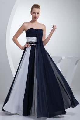 Navy Blue Sweetheart Duo Tone Beaded Waist A-Line Gown (Express)