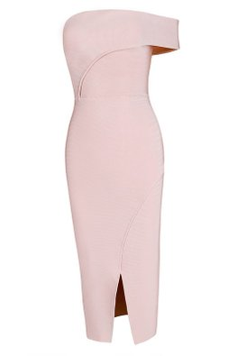 Off-Shoulder Frontal Slit Bandage Dress (Express)