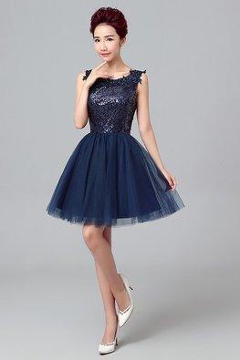 Navy Blue Sequins Applique Mini Gown
