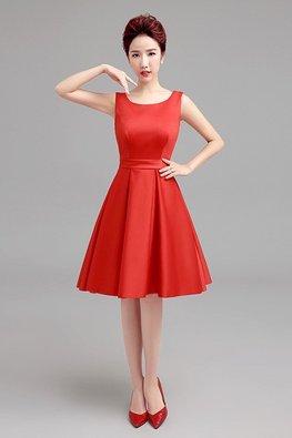 Red Round Neck A-Line Princess Dress (Express)