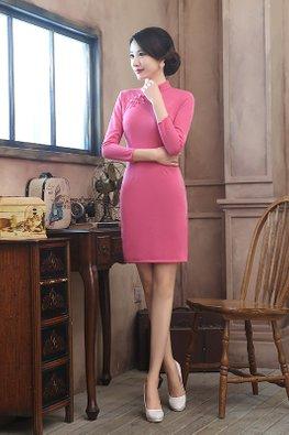 Pink Mandarin Collar 3/4 Sleeves Wool Cheongsam (Express)