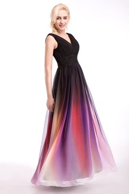 Violet Ombre V-Neck Lace-Up Floor Length Gown (Express)