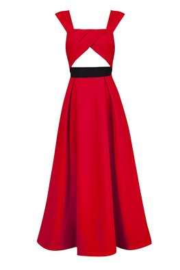 Red / Black Square Neckline Cut-Out A-Line Dress (Express)