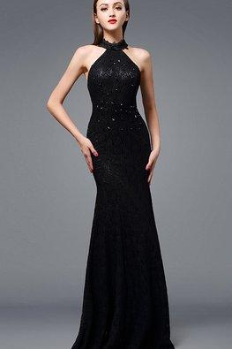 White / Black Gem Halter Sheer Back Fit and Flare Gown