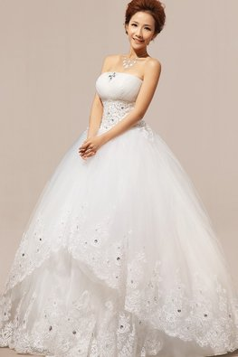 Straight Across Gem Bodice Tiered Lace Skirt Wedding Gown