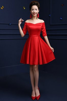 Red Off-Shoulder Elbow Sleeves A-Line Gown