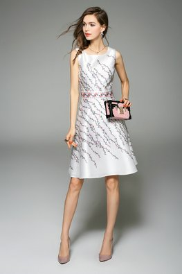 White Pink Floral Prints A-Line Dress (Express)
