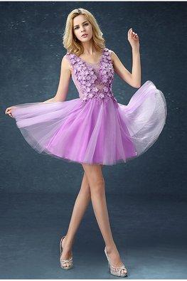 Lilac V-Neck 3D Flowers Mini Gown