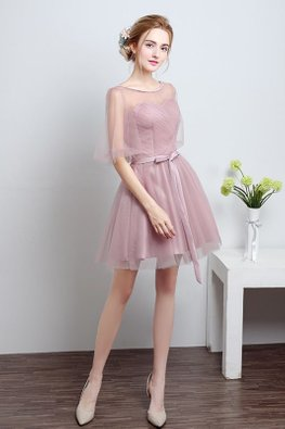 Dusty Pink Illusion Neckline Puff Sleeves Mini Gown