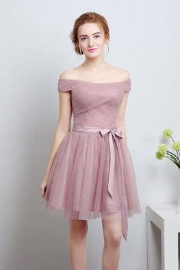 Dusty Pink Off-Shoulder Mini Gown