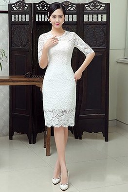 White Jewel Neckline Elbow Sleeves Scallop Hem Lace Dress (Express)