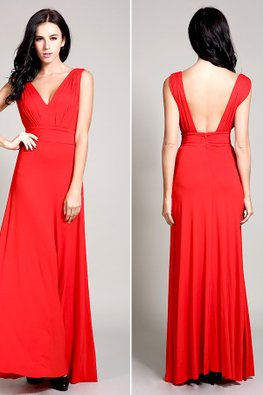 Red V-Neck Low Back Floor Length Gown (Express)