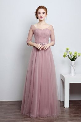 Dusty Pink Illusion V Neckline 3/4 Sleeves Floor Length Gown