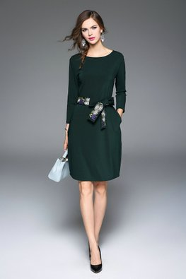 Pine Green Jewel Neckline Dress with Floral Embroidery Belt (Express)