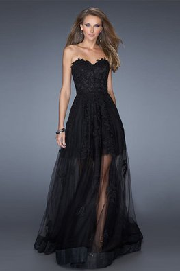 Champagne / Black Sweetheart Embroidery Lace A-Line Gown (Express)