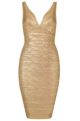 Assorted Shimmer Colours V-Neck Bandage Dress