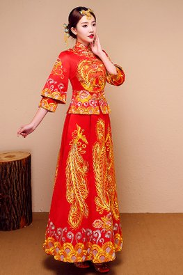Red Double Sleeves Pheonix Traditional Kua (Express)