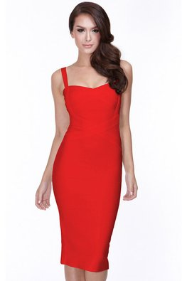 Red Sweetheart Cross Bandage Dress (Express)
