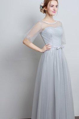 Grey Illusion Neckline Puff Sleeves Floor-Length Gown