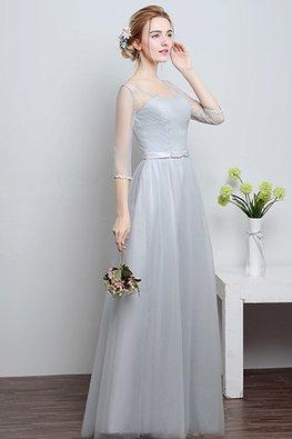 Grey Illusion V Neckline 3/4 Sleeves Floor Length Gown