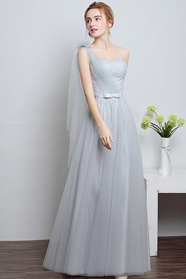 Grey One-Shoulder Floor Length Gown (Express)