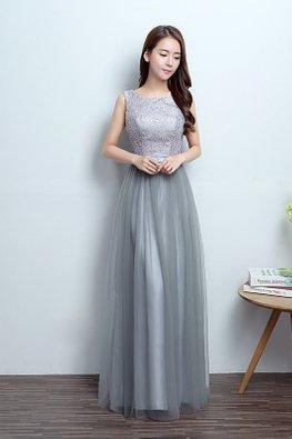 Grey Jewel Neckline Sleeveless Lace A-Line Gown (Express)