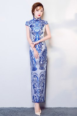 White Blue Mandarin Collar Cap Sleeves Lotus Cheongsam (Express)