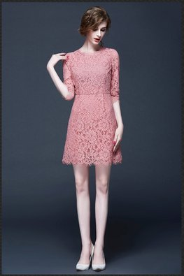 Pink / Black Scallop Hem Lace Dress