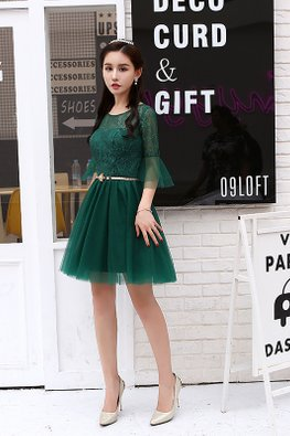 Green Illusion Neckline Bell Sleeves Gold Chain Gown