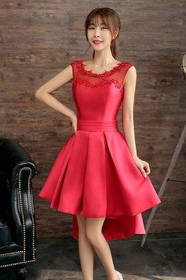 Pink / Red Illusion Neckline Hi-Lo Mini Satin Gown