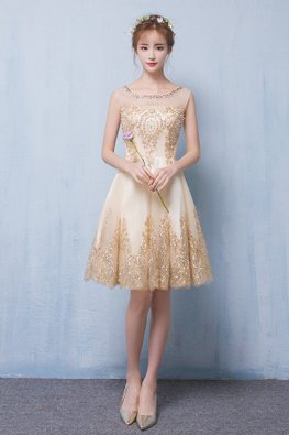 Nude Gold Illusion Neckline Sequins Pearl Sheer Back  A-Line Gown (Express)
